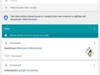 google moje aktivita