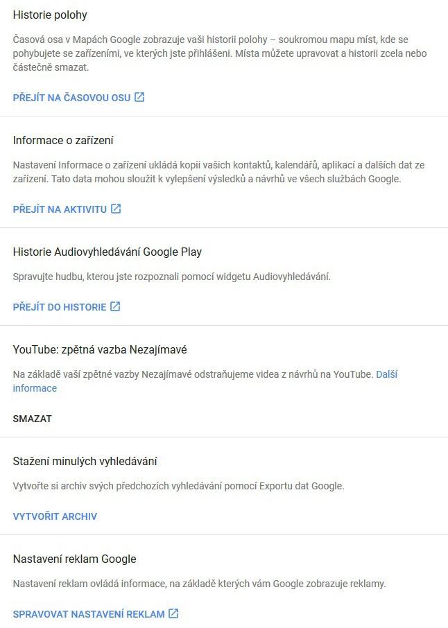 google moje aktivita jiná