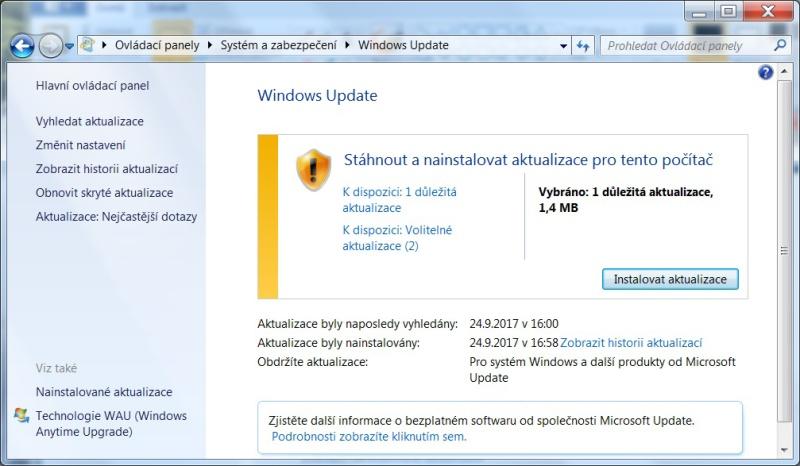 Jak skrýt aktualizaci ve Windows 7 - 2