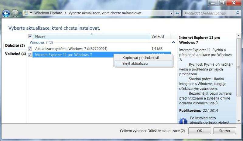 Jak skrýt aktualizaci ve Windows 7 - 3
