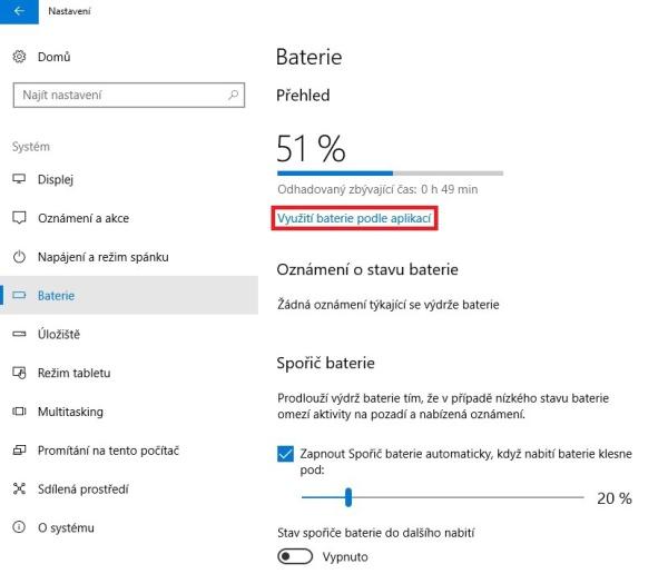 Využití baterie notebooku podle aplikací 01
