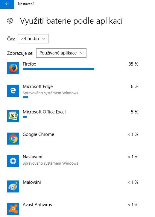 Využití baterie notebooku podle aplikací 02