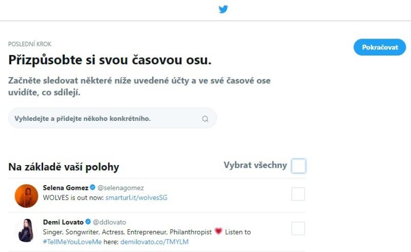 Twitter založení účtu 9