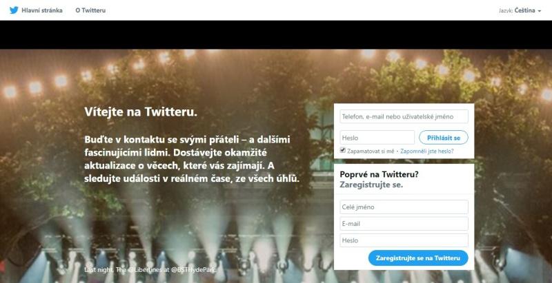 Twitter založení účtu 1