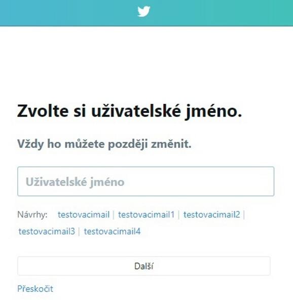 Twitter založení účtu 4