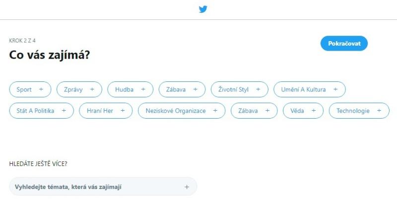 Twitter založení účtu 6