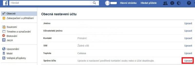 Jak zrušit Facebook účet a smazat profil 1