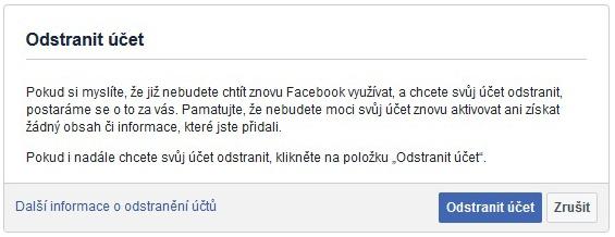 Jak odstranit facebook účet