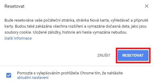 Jak resetovat Google Chrome 4
