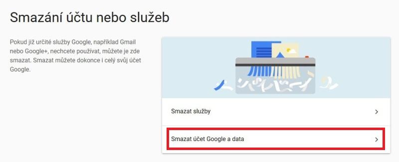 Jak zrušit - smazat účet na google 2