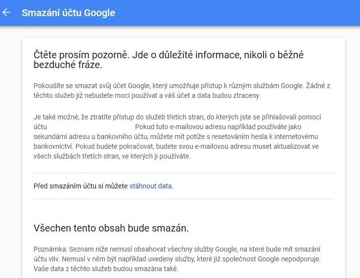 Jak zrušit - smazat účet na google 3