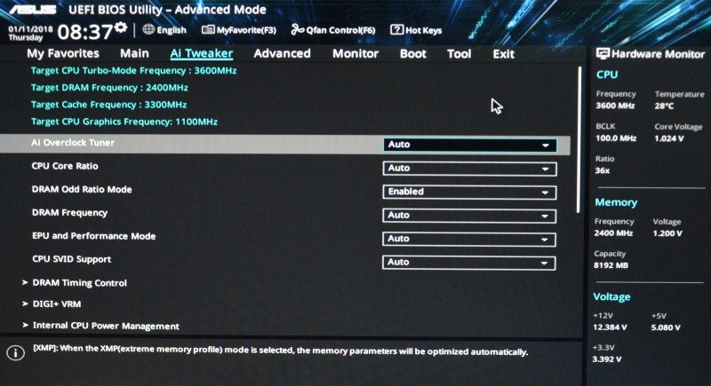 Asus Prime B250M-K základní deska - bios nastavení 06