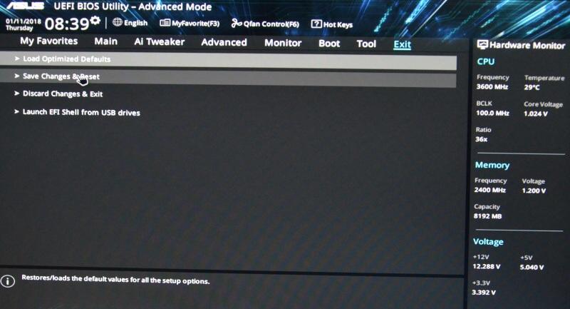 Asus Prime B250M-K základní deska – bios nastavení 12