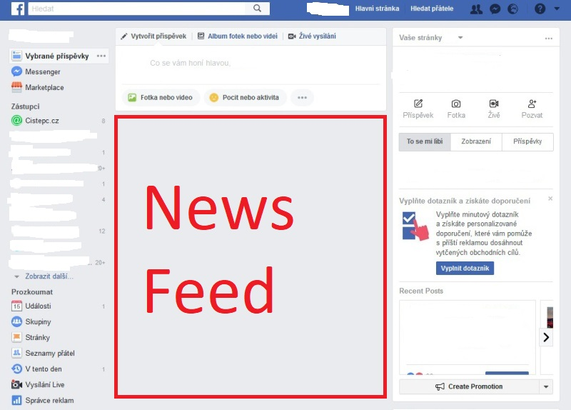 Disable Facebook News Feed - vzhled FB