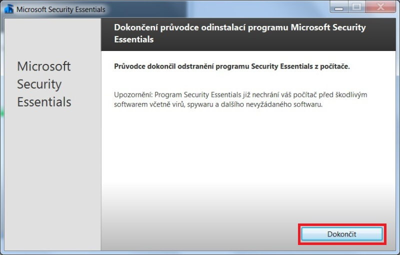 microsoft security essentials - odinstalace 04