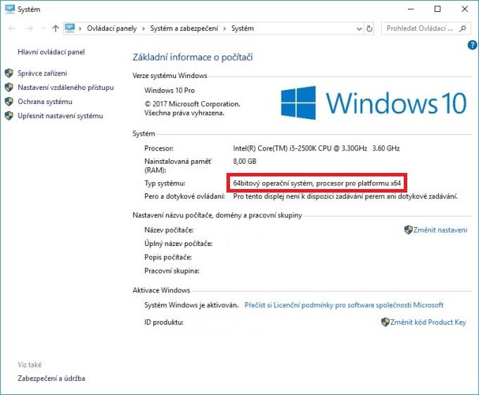 windows 10 64 bit verze