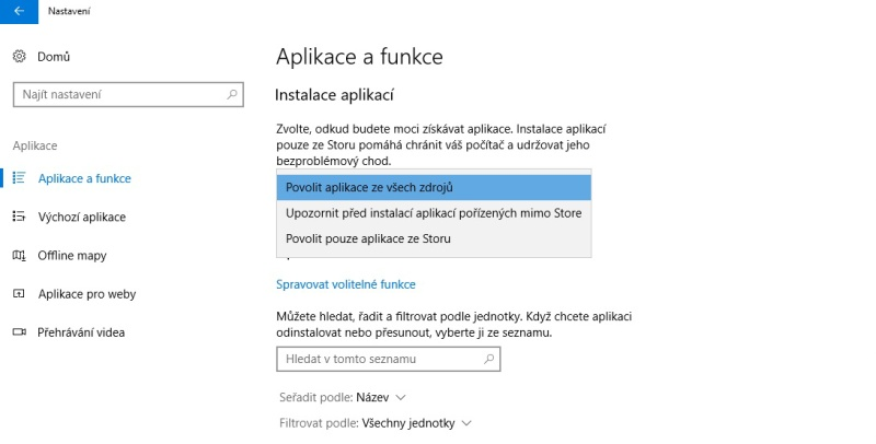 Windows 10 instalace aplikací ve Store
