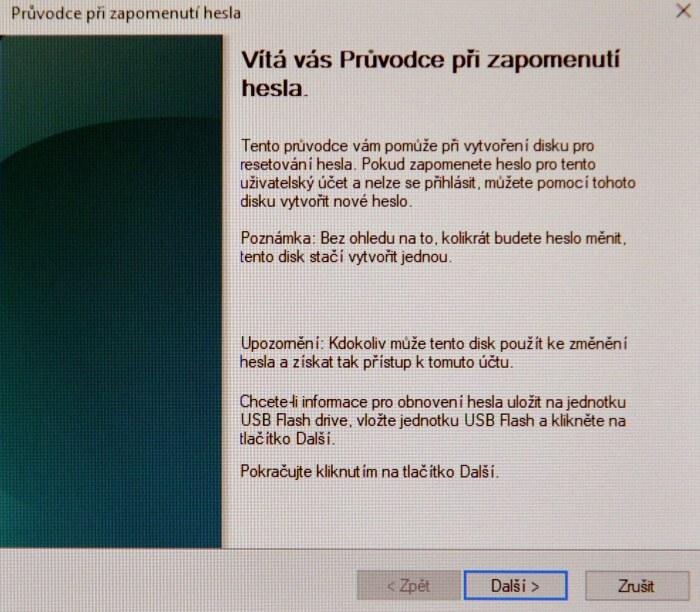 Disk pro resetování hesla ve Windows 10 2
