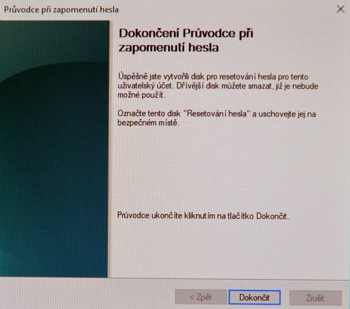 Disk pro resetování hesla ve Windows 10 6