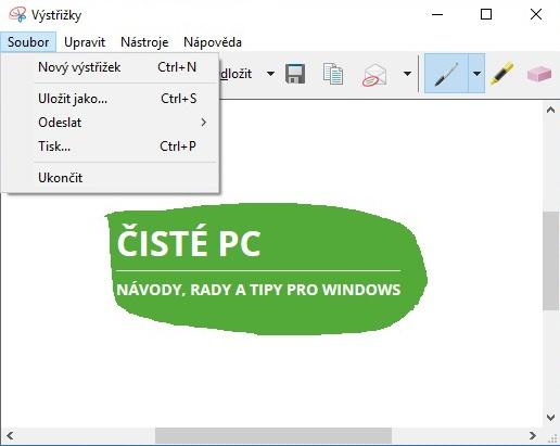 Výstřižky Windows 10 7