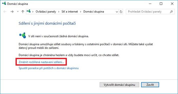 DLNA sdílení Windows 10 – 02