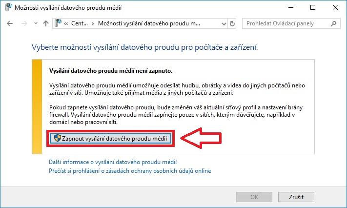 DLNA sdílení Windows 10 - 04