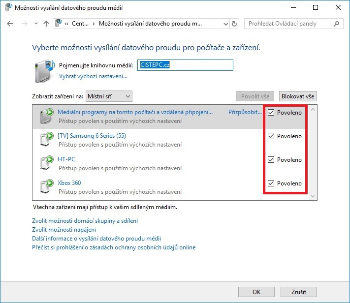 DLNA sdílení Windows 10 – 05