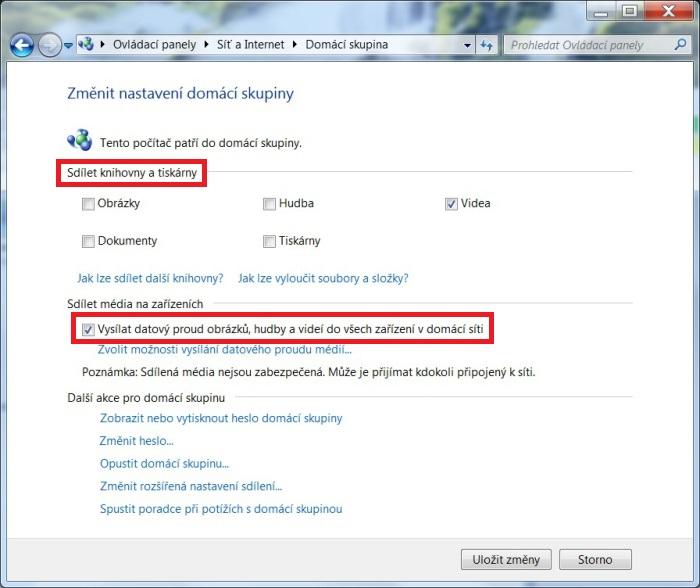 DLNA ve Windows 7. Nastavení, připojení, sdílení 3