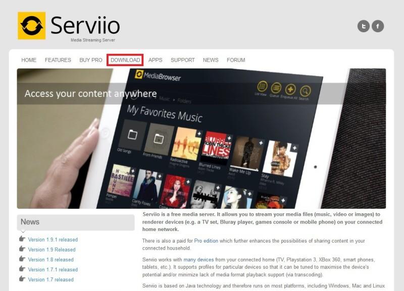 Serviio server dlna - nastavení, instalace, návod 01