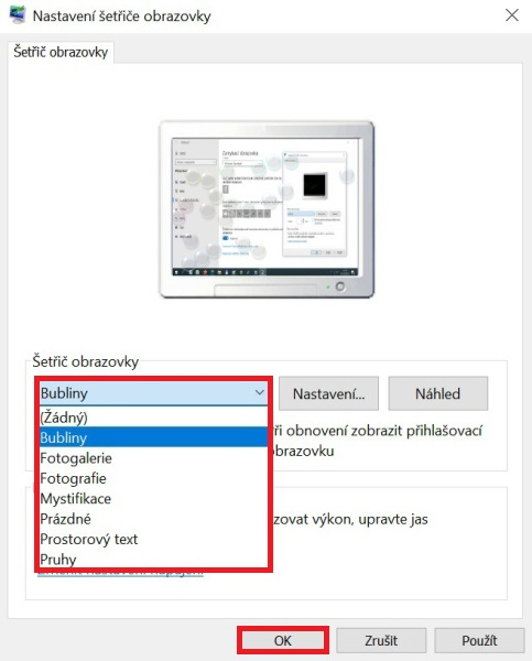 Šetřič obrazovky Windows 10