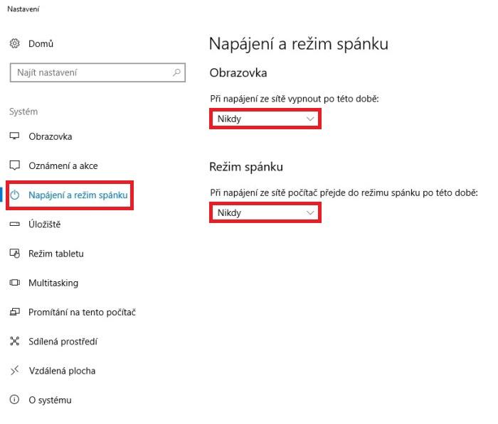 Sporič obrazovky - napájení a režim spánku ve Windows 10