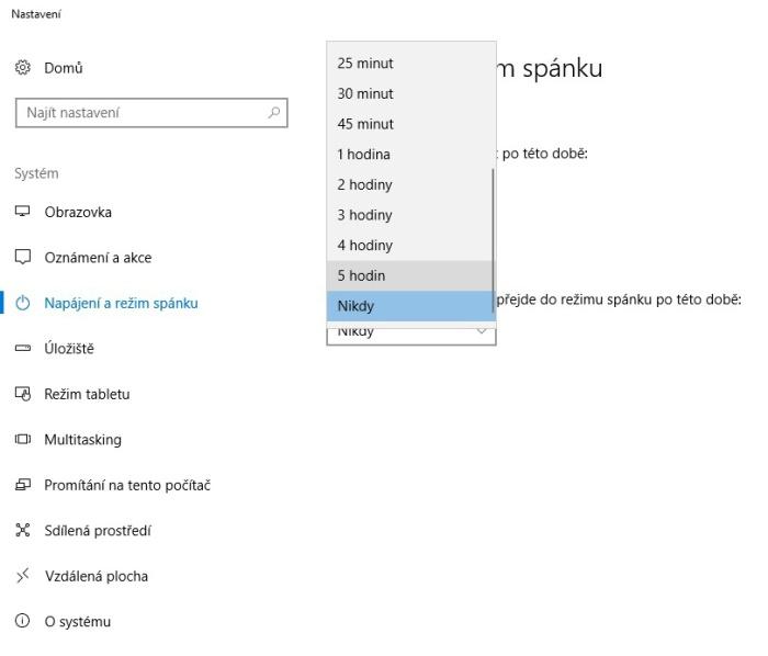 Sporič obrazovky - napájení a režim spánku ve Windows 10 3