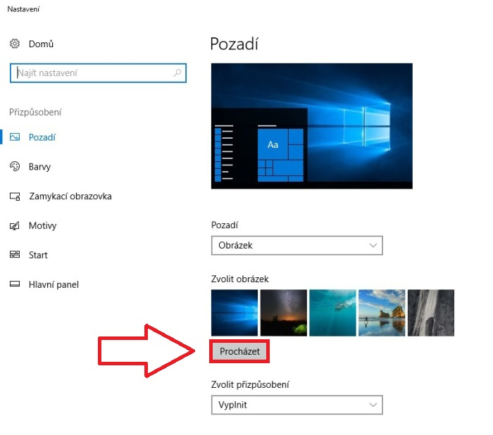 Tapeta jako pozadí pc - windows 10 2