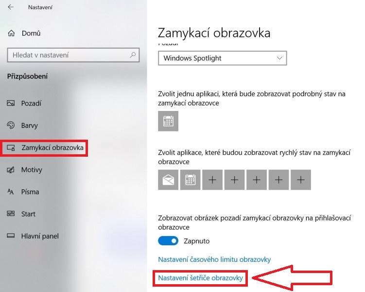 Zamykací obrazovka Windows 10