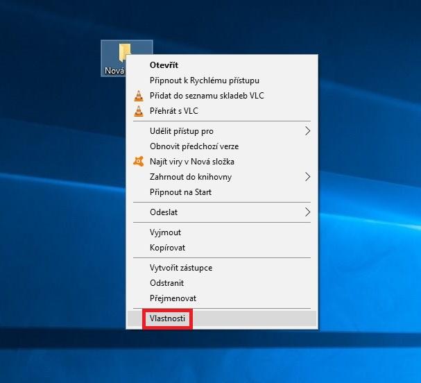 Změna ikony složky na ploše Windows 10