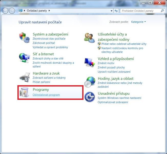 Jak odinstalovat program v počítači ve Windows 7 - 02