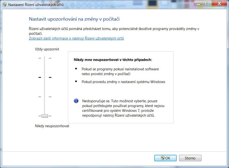 Řízení uživatelských účtů ve Windows 7 - 05