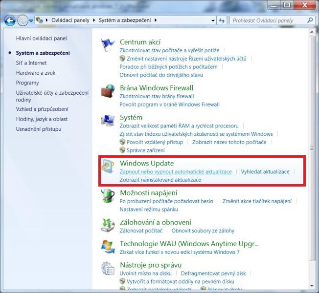 Jak zakázat aktualizace Windows 7 - 3