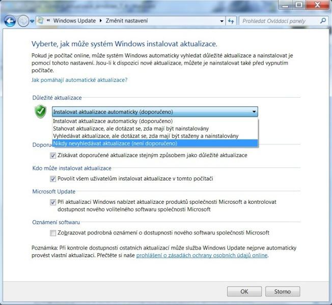 Jak zakázat aktualizace Windows 7 – 5