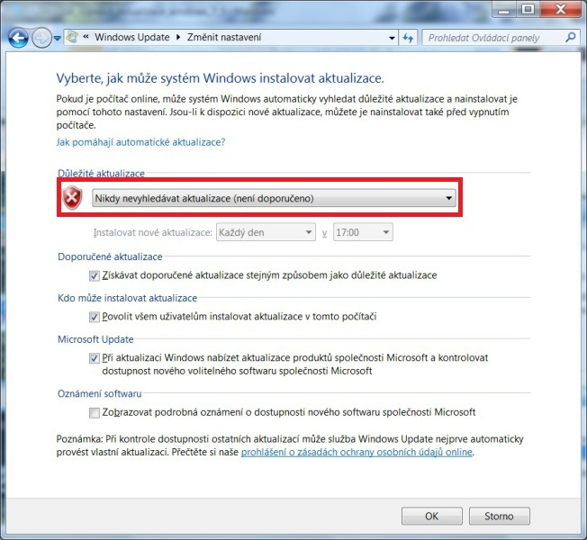 Jak zakázat aktualizace Windows 7 – 6