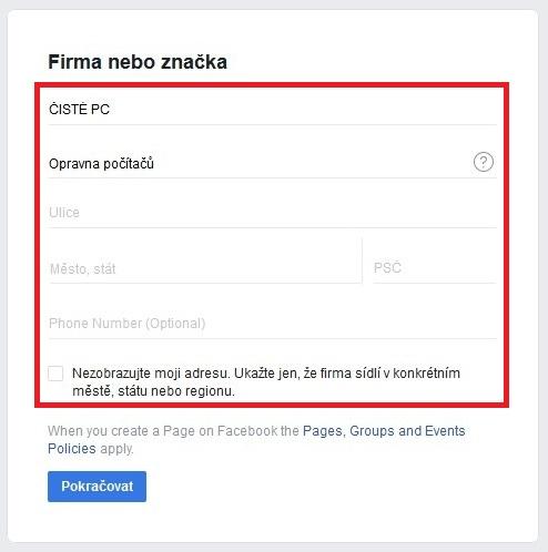 Jak založit firemní Facebook stránku 4