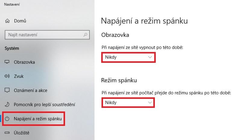 Napájení a režim spánku PC Windows 10