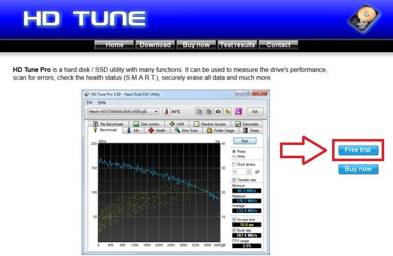 Hd Tune Pro 5.70 trial 0