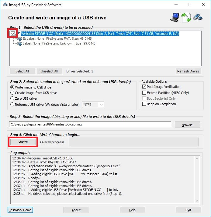 memtest 86 - instalační usb disk