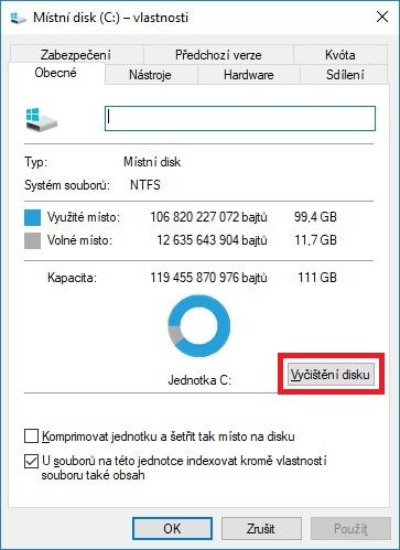 Vyčištění pevného disku ve Windows 10 - 01