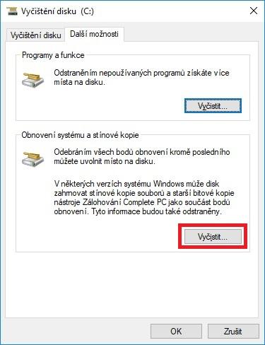 Vyčištění pevného disku ve Windows 10 - 04