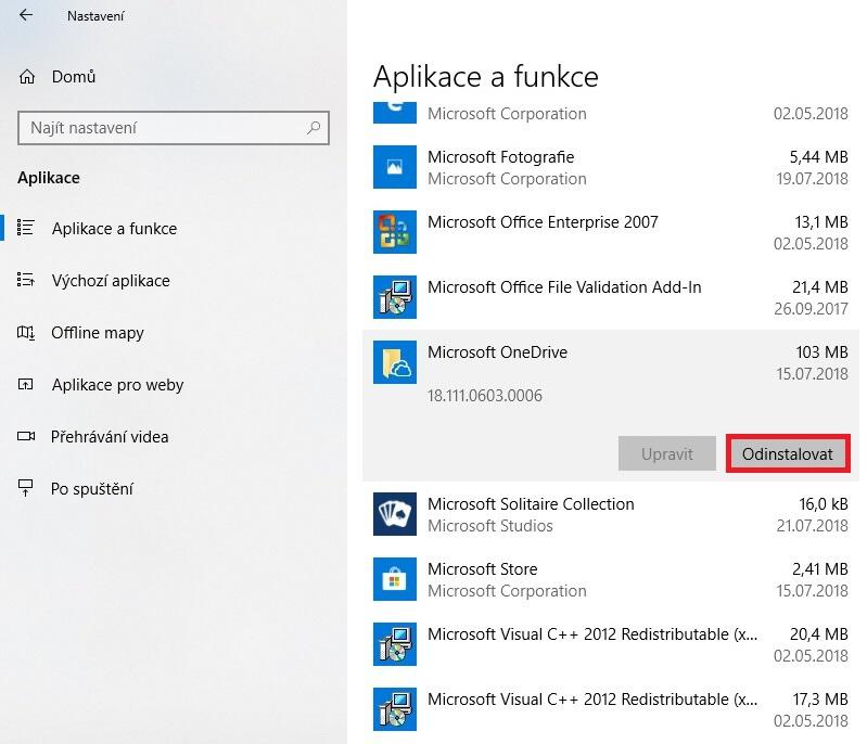 Jak odinstalovat OneDrive z Windows 10 - 03