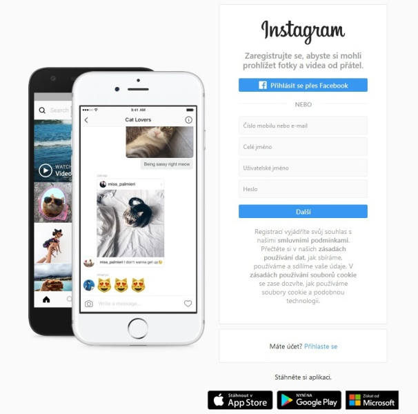 Jak založit Instagram na PC
