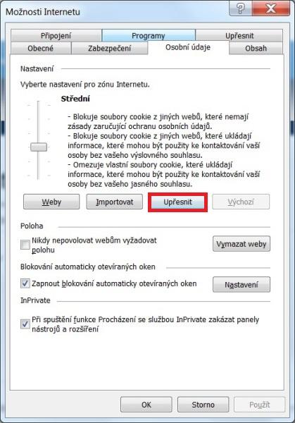 Jak zapnout cookies – Internet Explorer
