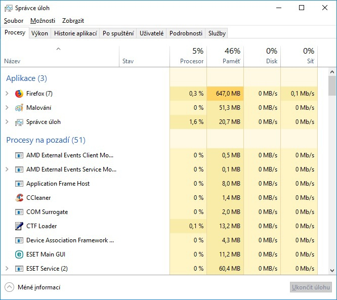 Správce úloh (task manager) Windows 10 - 02